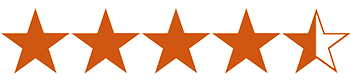 Graphic of 4 and a half stars to represent book ratings